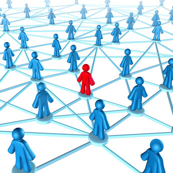 Networking success strategies on the internet with people connected together with one member in red and the other group in blue part of  a social gathering.
